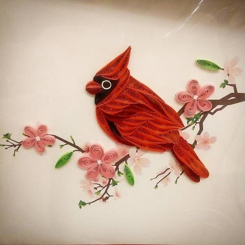 quilled paper cardinal
