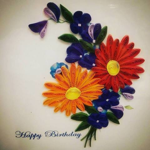 quilled paper birthday flowers
