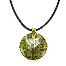 Minga Imports Sylvan Stone & Brass Tree Necklace