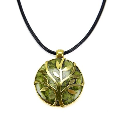 Minga Imports Sylvan Stone & Brass Tree Necklace