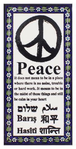 peace ceramic wall art