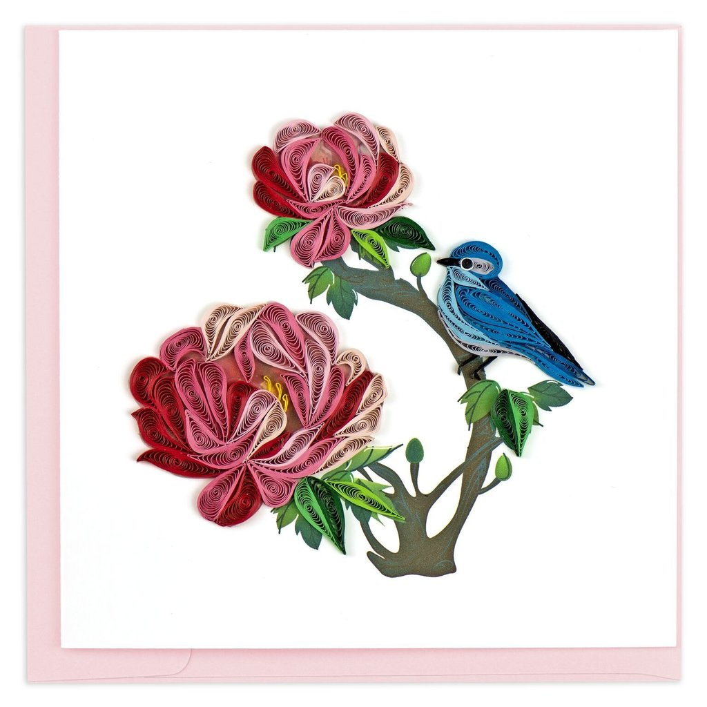 Quilling Card Peony and Bird Quilling Card