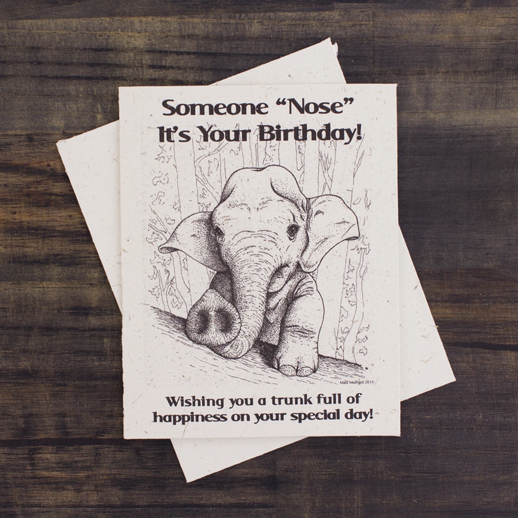 Mr Ellie Pooh Baby Elephant Birthday Card