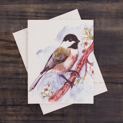 Mr Ellie Pooh Chickadee Watercolor Card