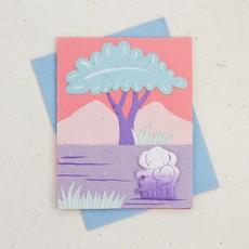 Mr Ellie Pooh Elephant Famiy Pink Card