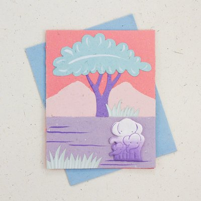 Mr Ellie Pooh Elephant Famiy Pink Card