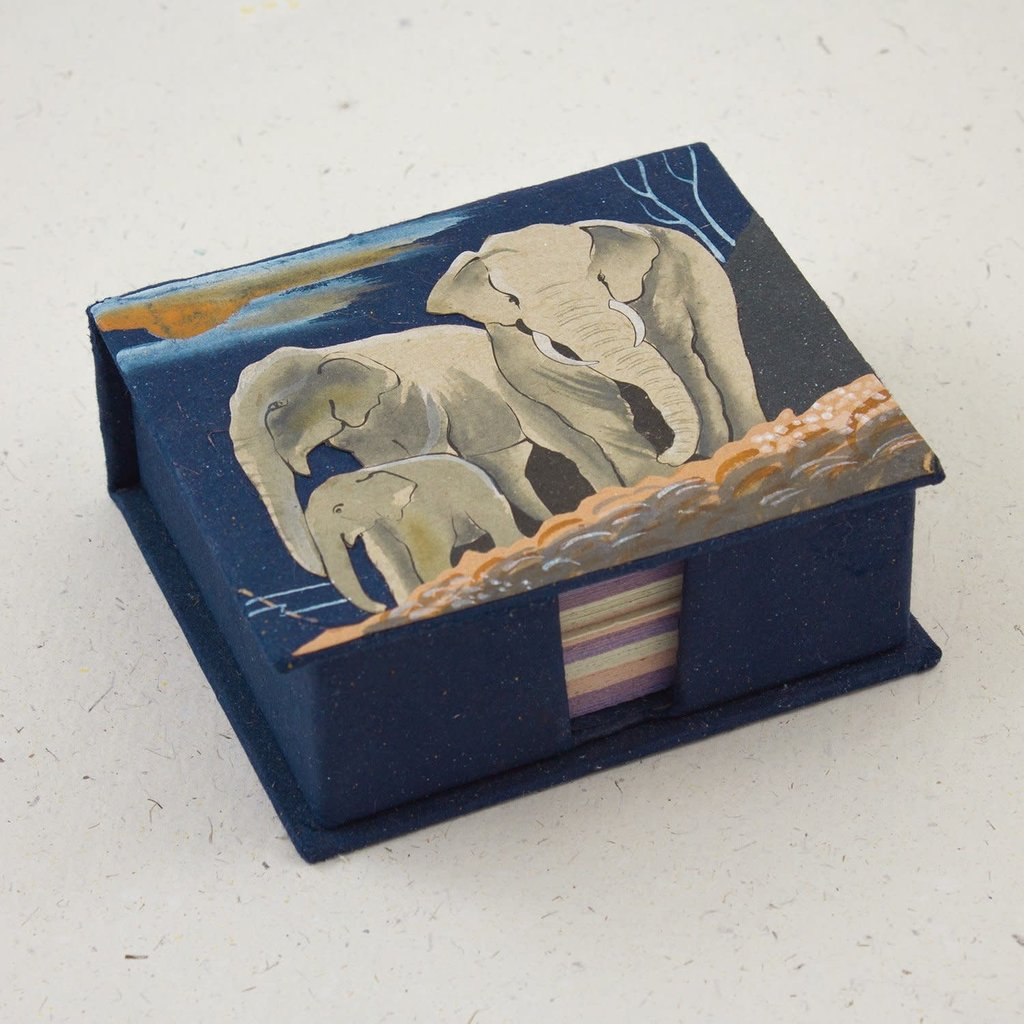 Mr Ellie Pooh Elephants Dark Blue Note Box