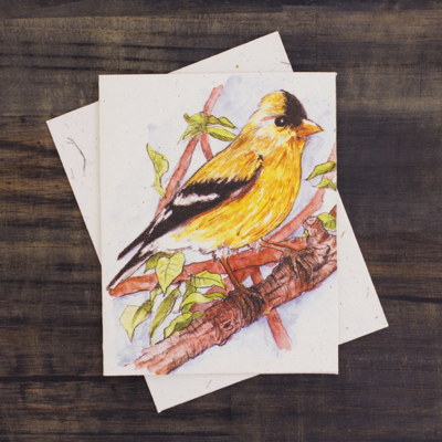 Mr Ellie Pooh Goldfinch Watercolor Card