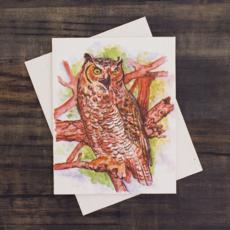 Mr Ellie Pooh Great Horned Owl Watercolor Card