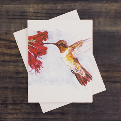 Mr Ellie Pooh Hummingbird Watercolor Card