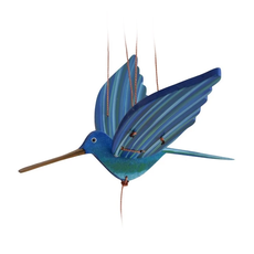 Tulia's Artisan Gallery Flying Blue Hummingbird Mobile