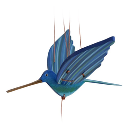 Tulia's Artisan Gallery Blue Hummingbird Flying Mobile