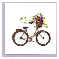 Quilling Card Bike with Flowers Quilled Card