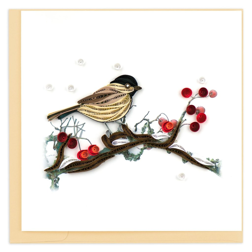 Quilling Card Bird on Berry Branch Quilled Card