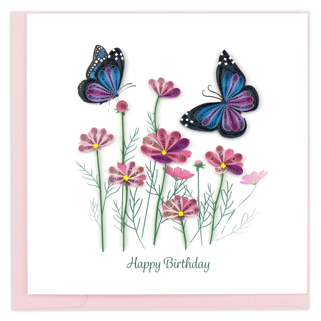 Quilling Card Flowers and Butterflies Quilled Birthday Card