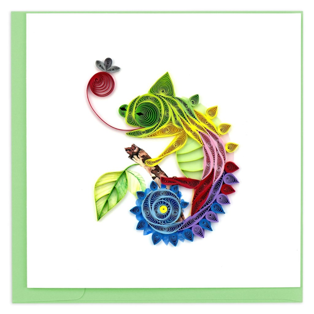 Quilling Card Chameleon Quilled Card
