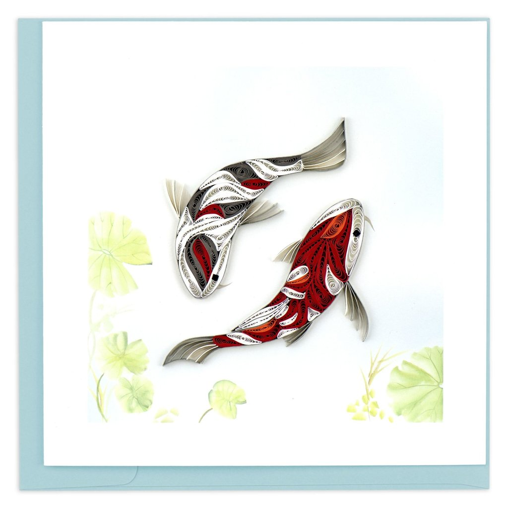 Quilling Card Two Koi Fish Quilled Card