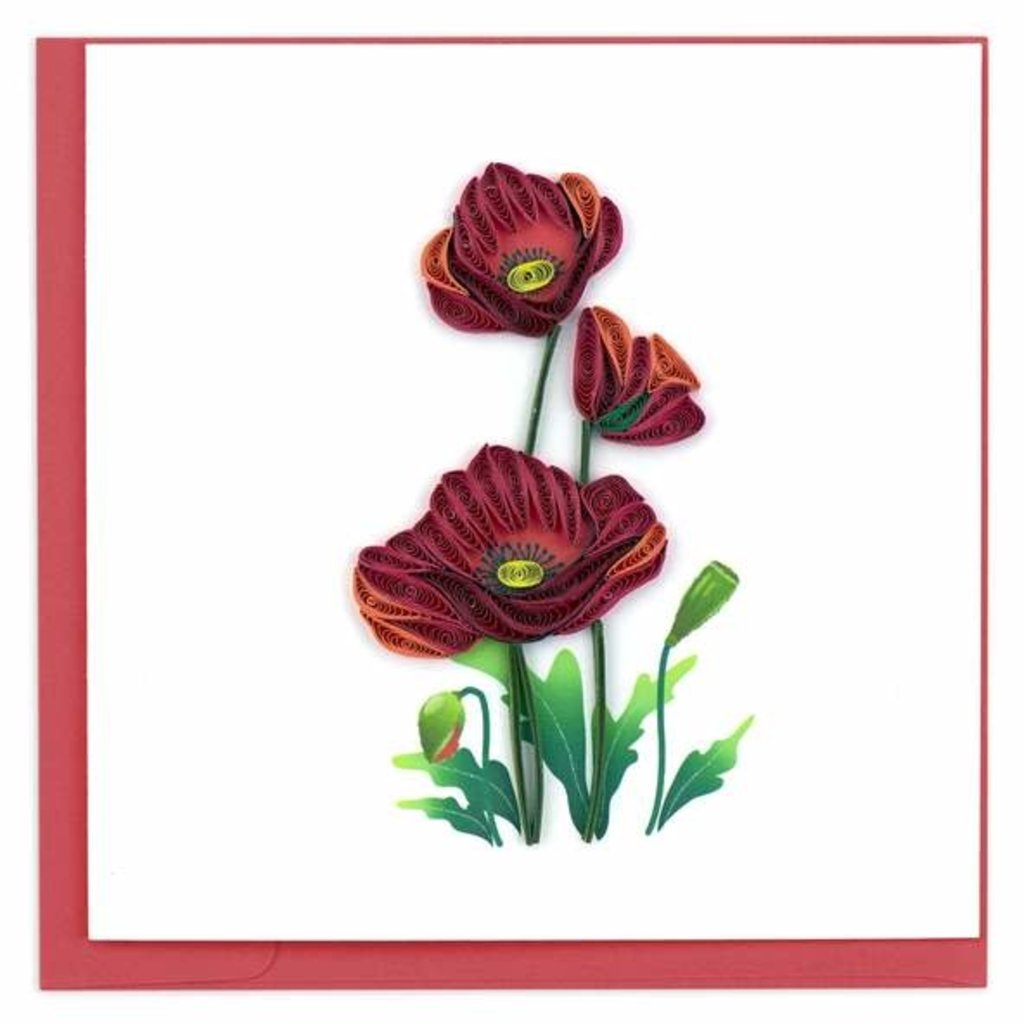 Quilling Card Red Poppies Quilled Card