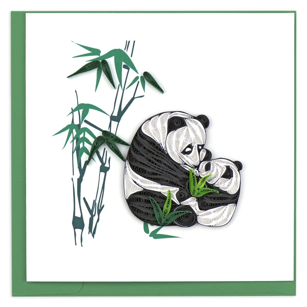 Quilling Card Two Pandas Quilled Card