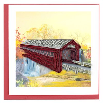 Quilling Card Covered Bridge Quilled Card