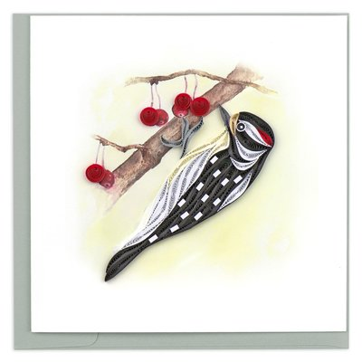 Quilling Card Downy Woodpecker Quilled Card