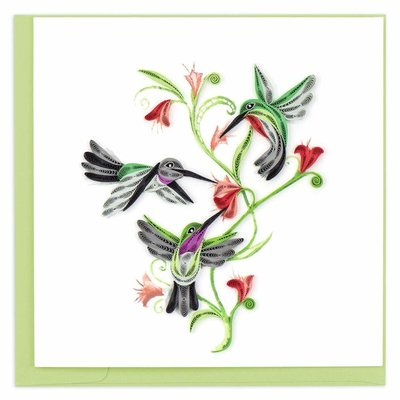 Quilling Card Hummingbird Trio Quilled Card