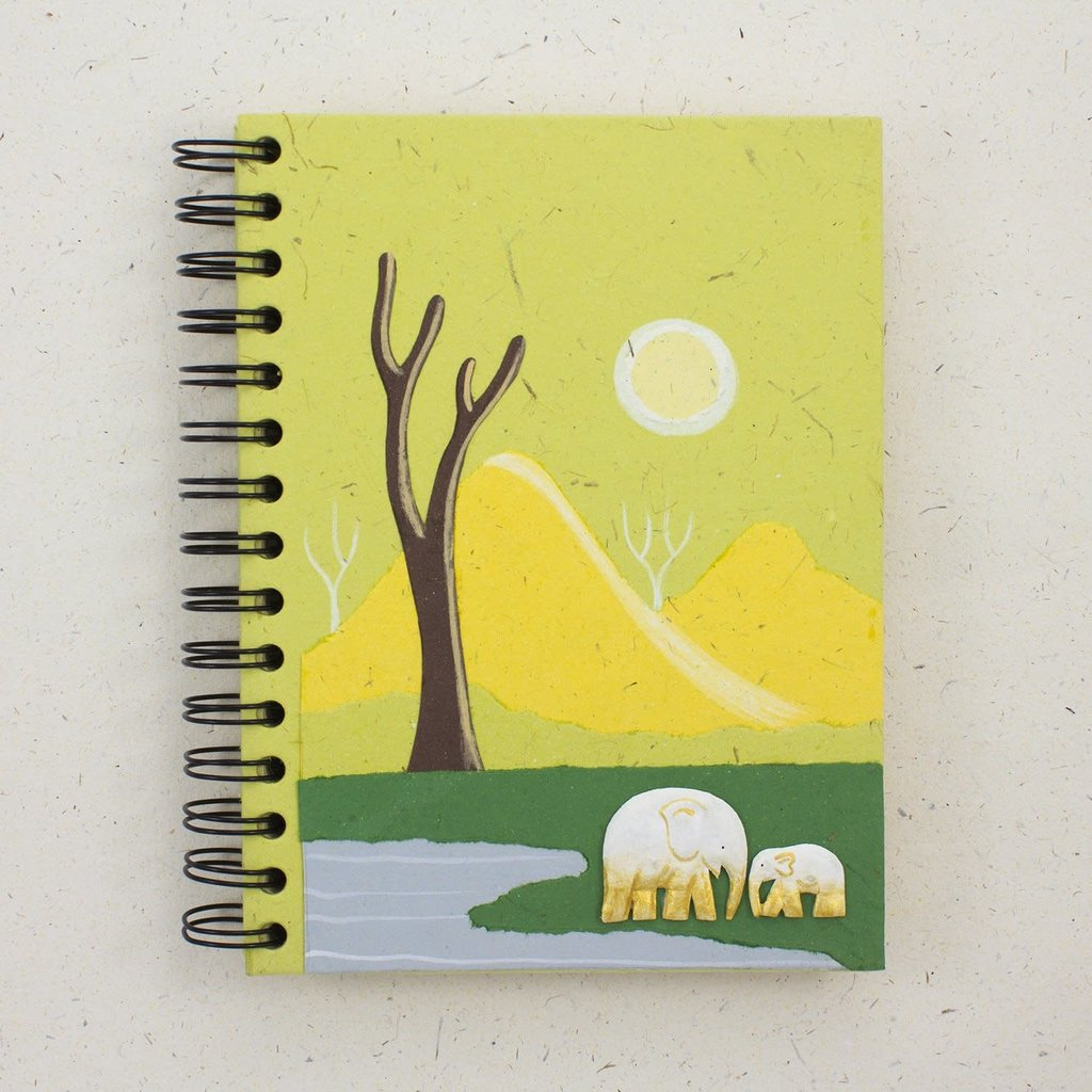 Mr Ellie Pooh Large Elephant Mama Baby Green Journal