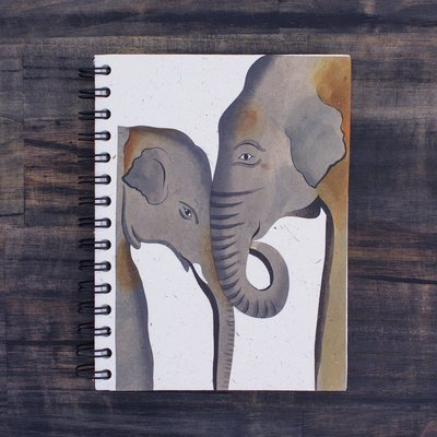 Mr Ellie Pooh Large Painted Mom and Baby Elephant Journal