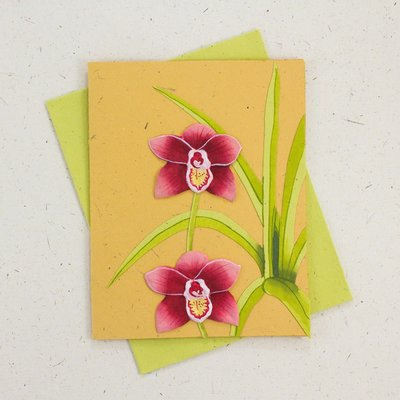 Mr Ellie Pooh Orchid Flower Greeting Card
