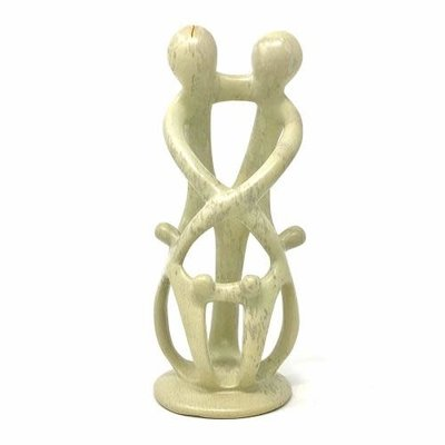 Global Crafts Soapstone Family Statue: 2 Parents 4 Children