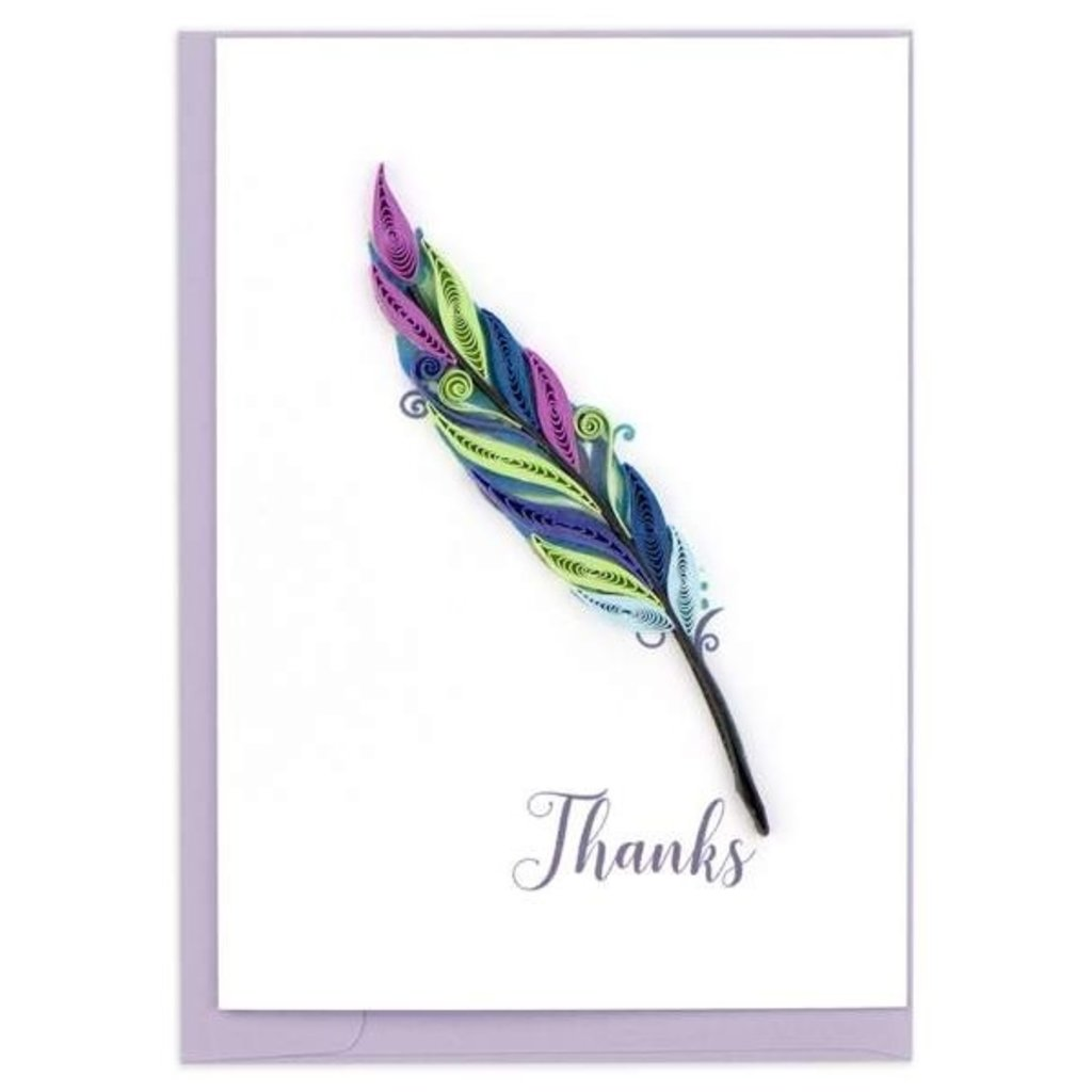 Quilling Card Thanks Feather Quilled Gift Enclosure Card