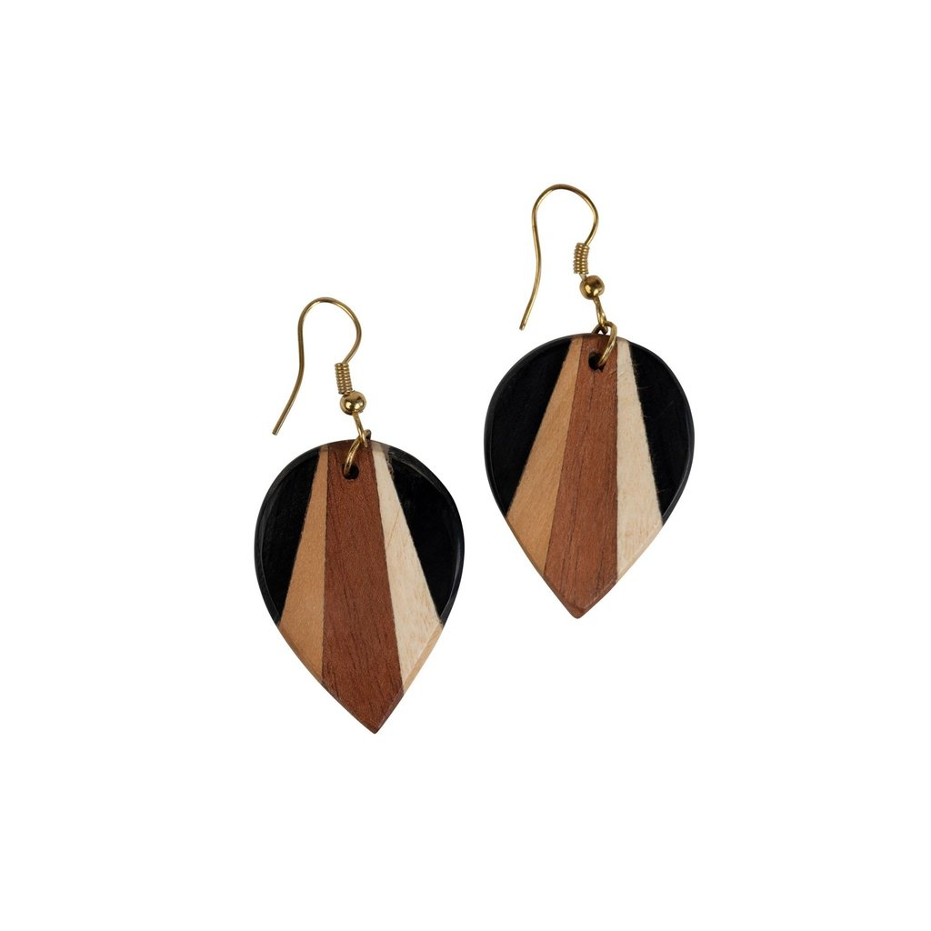 Ten Thousand Villages Radiance Wood & Brass Earrings