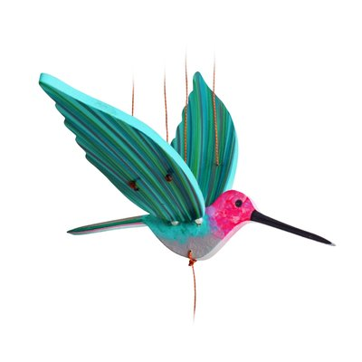 Tulia's Artisan Gallery Flying Pink Anna's Hummingbird Mobile