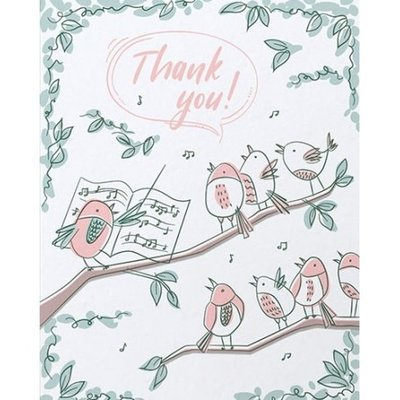 Good Paper Bird Chorus Thank You Card