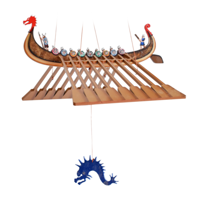 Tulia's Artisan Gallery Viking Ship Flying Mobile