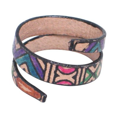 Ten Thousand Villages Tribal Magic Leather Wrap Ring