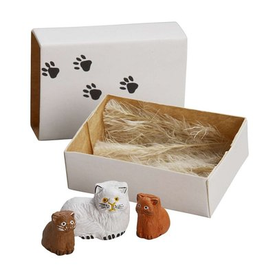 Ten Thousand Villages Cat Family Matchbox