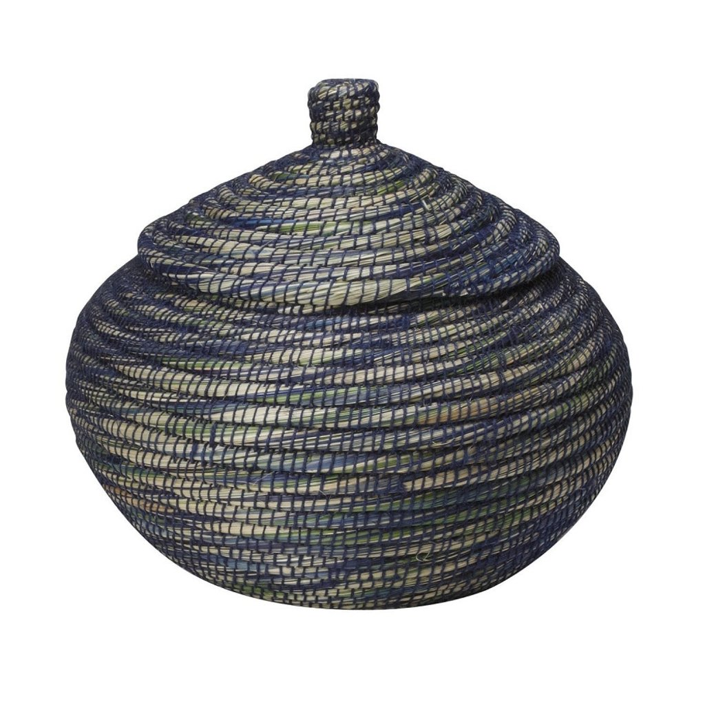 Ten Thousand Villages Blue Ribbon Bogra Basket