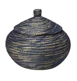 Ten Thousand Villages Blue Ribbon Bogra Basket