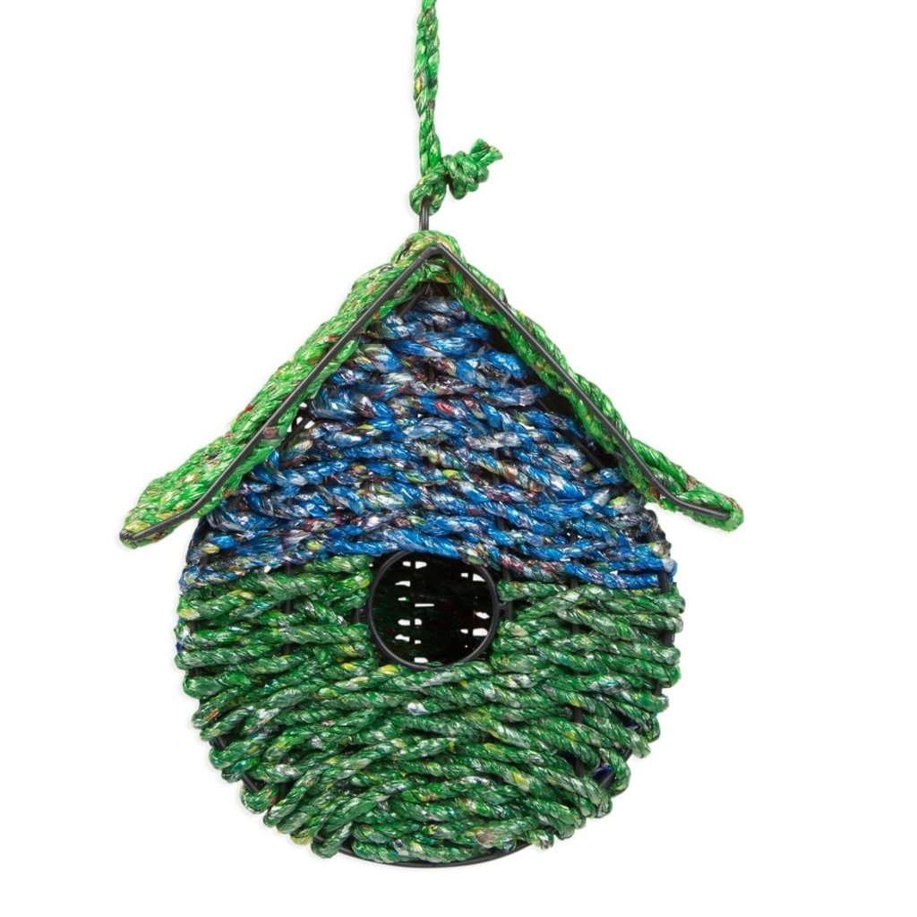 Ten Thousand Villages Home Sweet Home Recycled Candy Wrapper Birdhouse