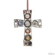 Serrv Recycled Paper Coiled Cross Ornament