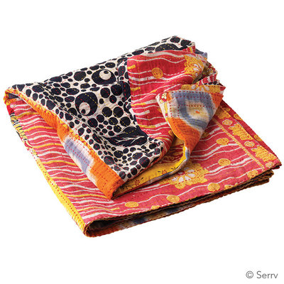 Serrv Kantha Patchwork Square Throw 56x56 Assorted