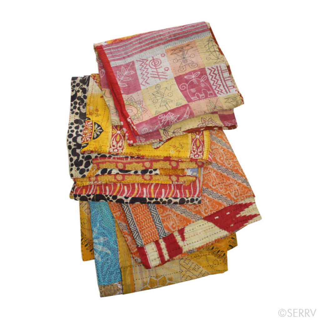 Serrv Kantha Patchwork Square Throw 56x56