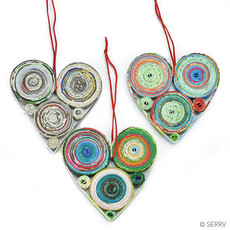 Serrv Recycled Paper Heart Ornament
