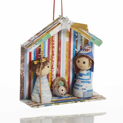 Serrv Recycled Magazine Nativity Ornament