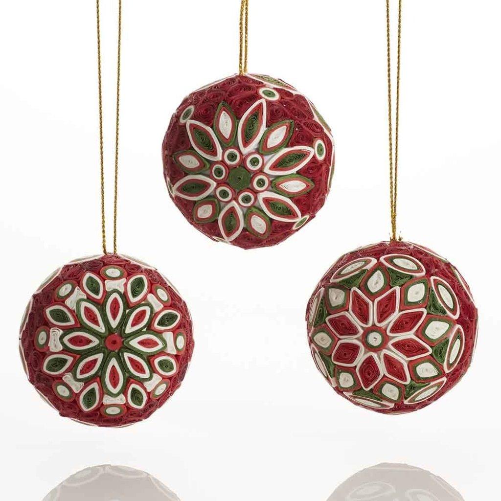 Serrv Quilled Christmas Ball Ornament