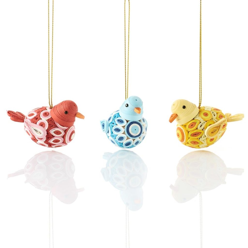 Serrv Quilled Round Bird Ornament