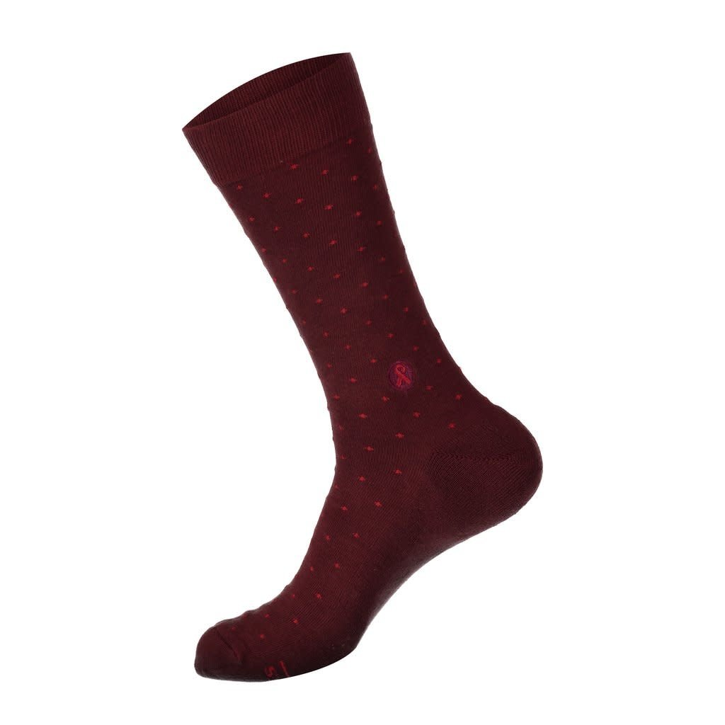 Conscious Step Socks that Treat HIV Maroon Polka Dots
