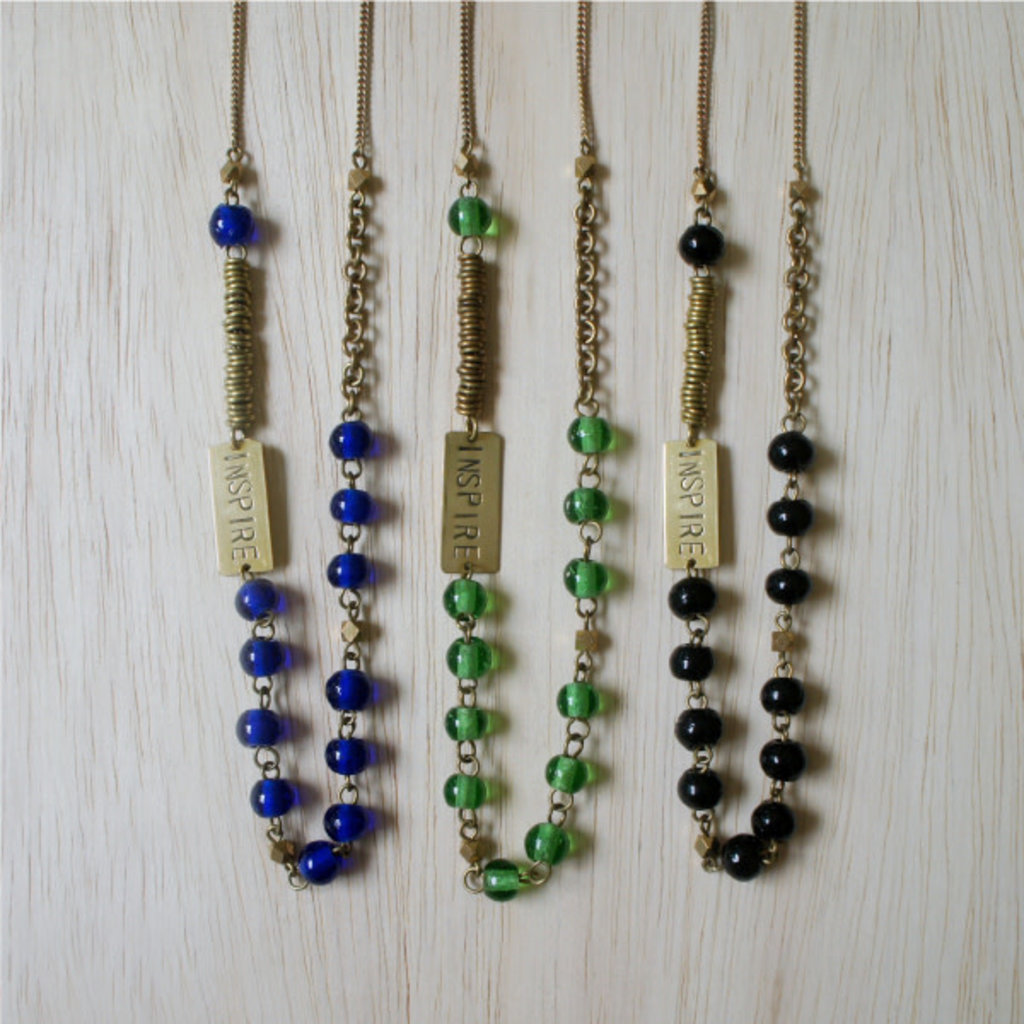 Venture Imports Inspire Charm Recycled Glass Bead Necklace