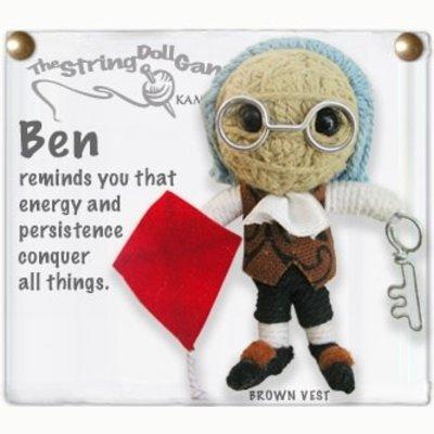 Kamibashi Benjamin Franklin String Doll Keychain